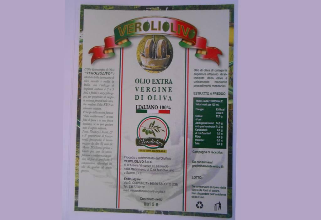 Etichetta Olio Extravergine di Oliva Molisano in Molise